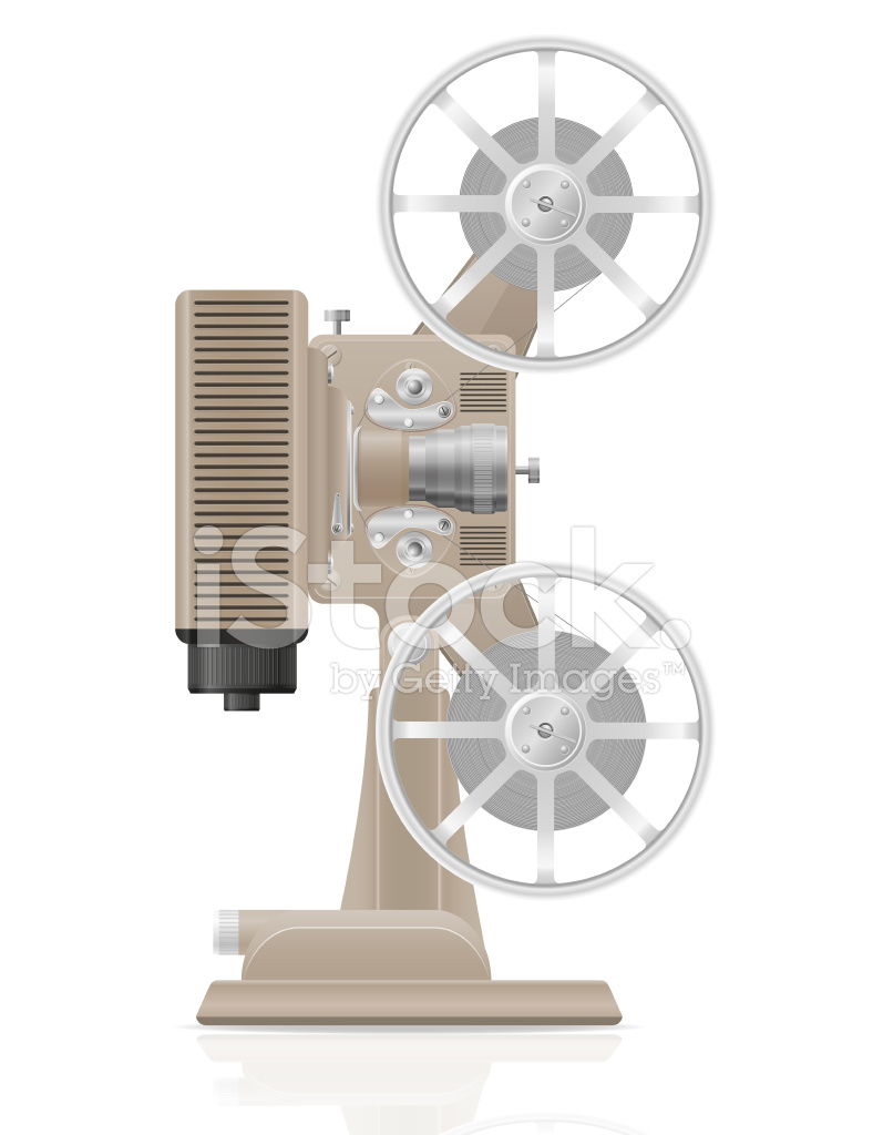 797x1024 Old Retro Vintage Movie Film Projector Vector Illustration Stock