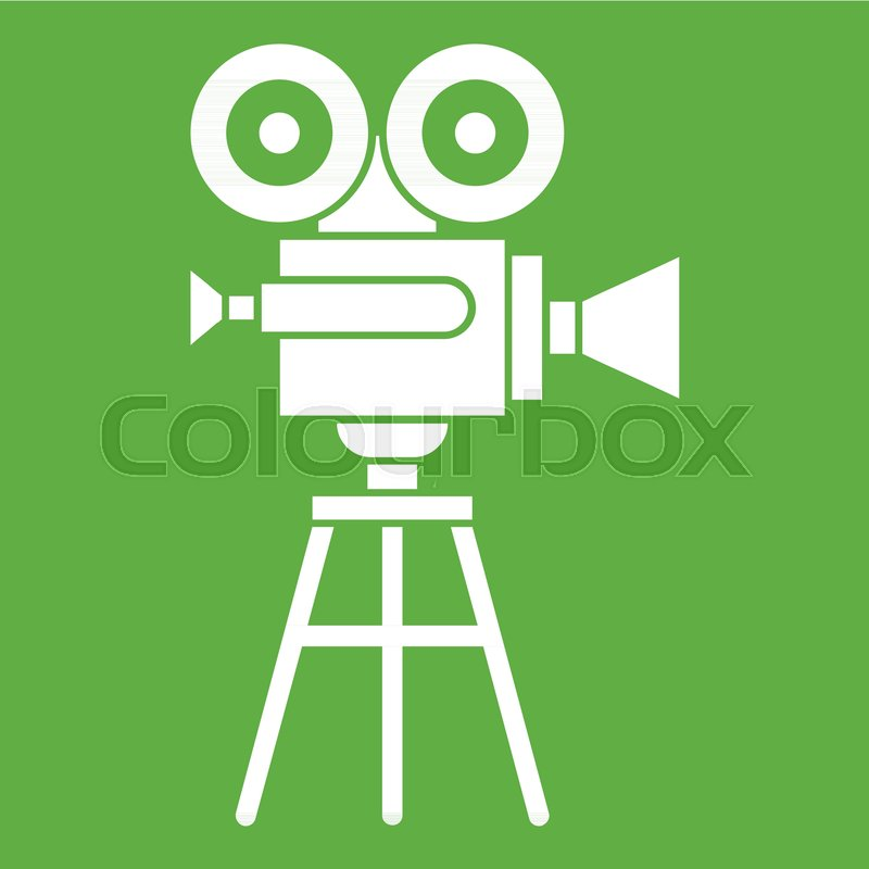 800x800 Retro Film Projector Icon White Isolated On Green Background