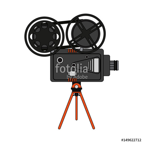 500x500 Color Image Cartoon Retro Movie Film Projector Vector Illustration