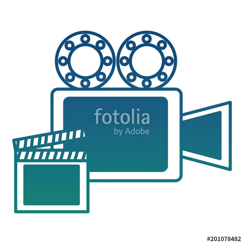 500x500 Film Projector Reel And Clapper Board Vector Illustration Degraded