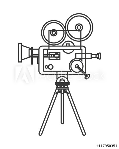 400x500 Flat Design Retro Film Projector Icon Vector Illustration