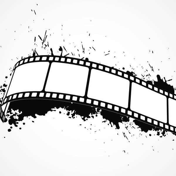 600x600 Film Reel With Ink Splash Vector Free Download