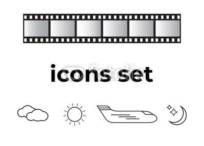 400x286 Vector Icons Set. Air And Key Icon. Name Tag And Film Roll Vector