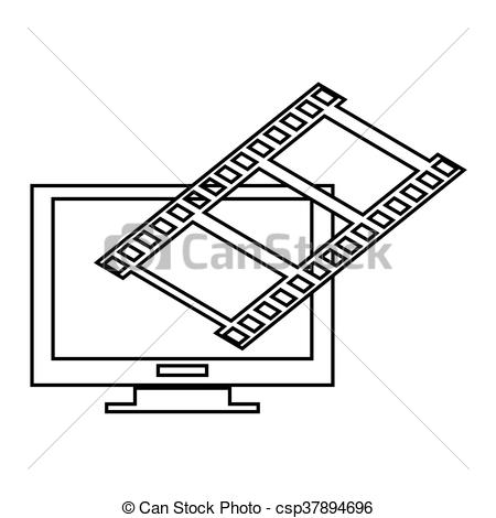 450x470 Computer Monitor And Film Roll , Vector Illustration Over White