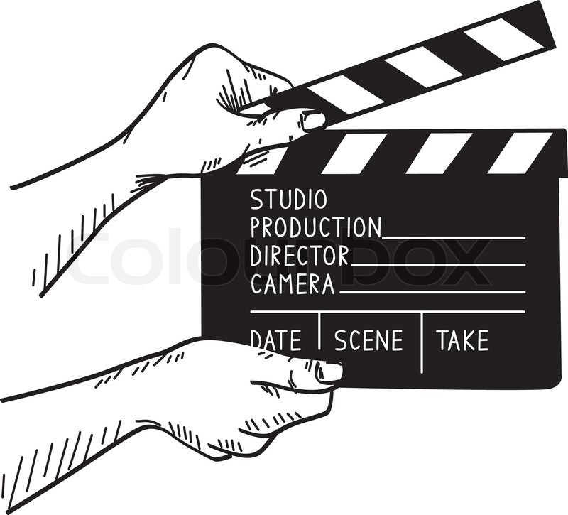 800x725 Doodle Vector Illustration Of Film Set Clapper Stock Vector