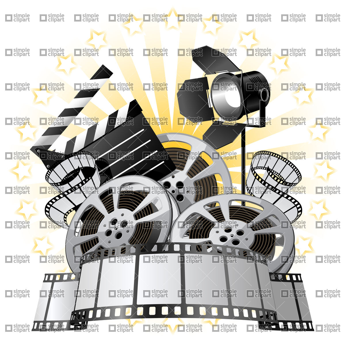 1200x1180 Film Premiere Poster With Film Reels And Film Slate Vector Image