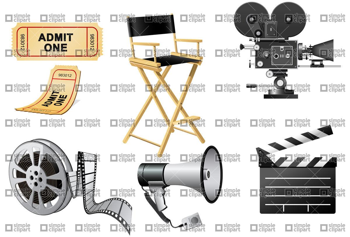 1200x814 Megaphone, Movie Camera And Film Slate Vector Image