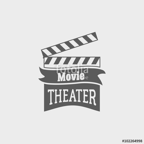 500x500 Movie Theater Vector Logo With Slate Board For Shooting Movies