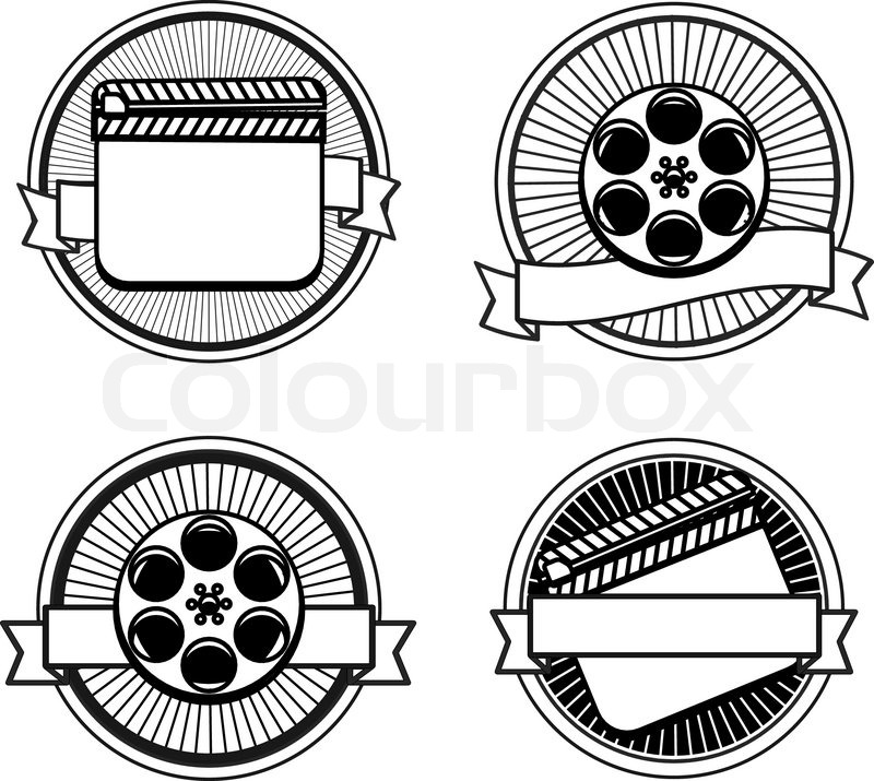 800x715 Black And White Movie Stamps Icons Slate And Reel Stock Vector
