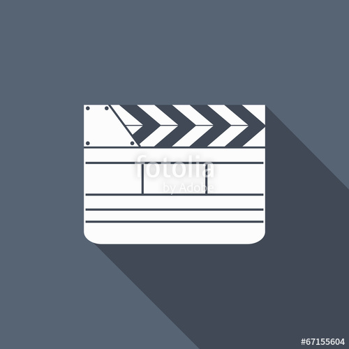 500x500 Film Slate Icon With Long Shadow Stock Image And Royalty Free