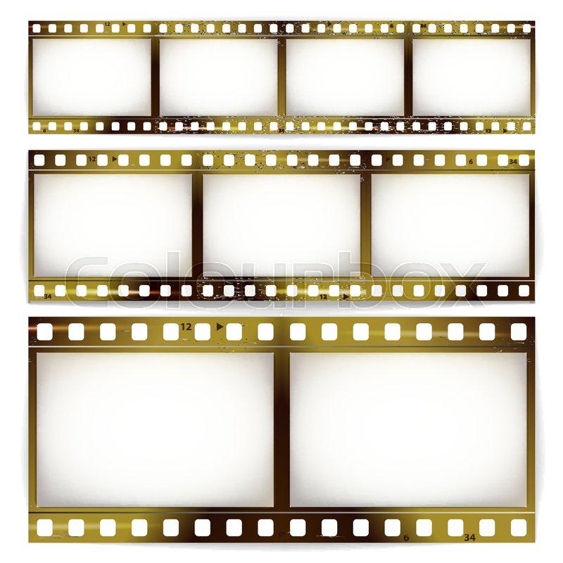 800x800 Film Strip Vector Set. Cinema Of Photo Frame Strip Blank Scratched