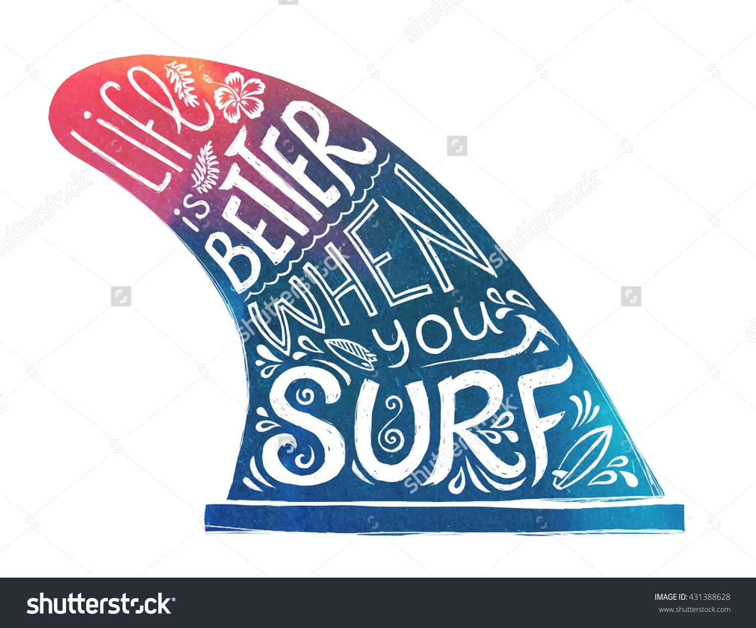 1500x1246 Blue And Pink Hand Drawn Surfing Single Fin With Lifestyle