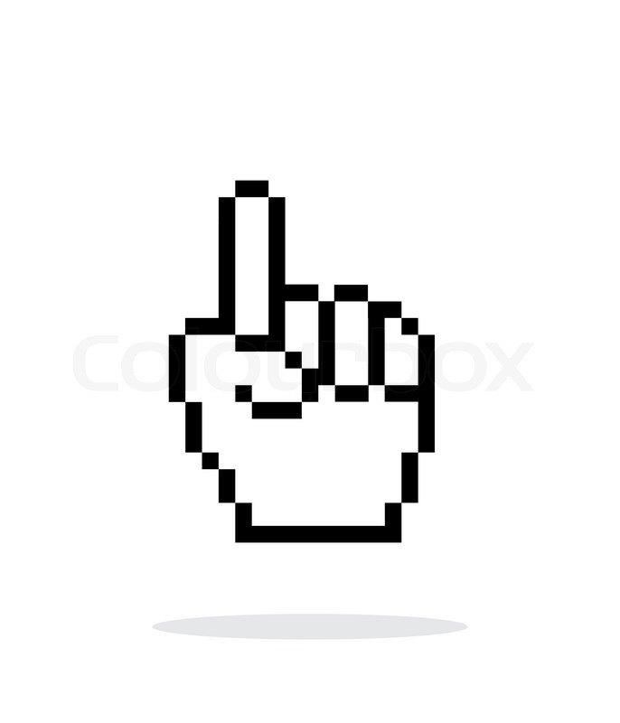 686x800 One Finger. Pixel Hand Cursor Icon On White Background. Vector