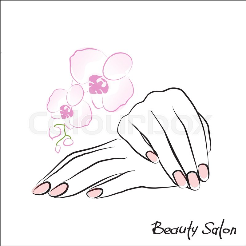 800x800 Female Hand With Painted Nails, Pink Manicure Symbol. Vector