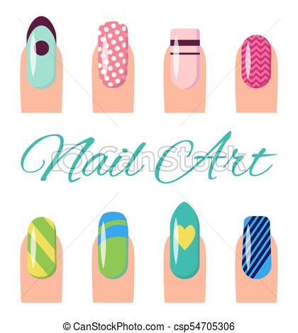 420x470 Nail Art Collection Poster Vector Illustration. Nail Art