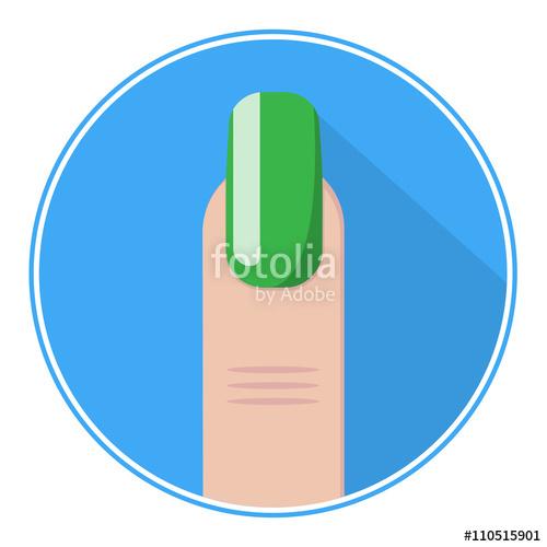 500x500 Nail Icon. Green Fingernail Vector. Nail Flat Logo. Stock Image