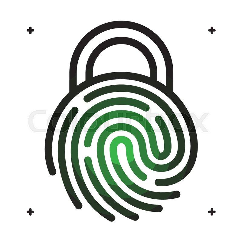 800x800 Fingerprint Access Icon. Fingerprint With Lock Shape. Fingerprint
