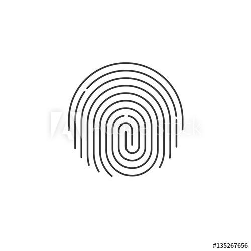 500x500 Fingerprint Icon Vector, Round Shaped Black Fingerprint Isolated