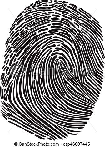 336x470 Black Silhouette Of Fingerprint Vector Illustration. Fingerprint Scan.
