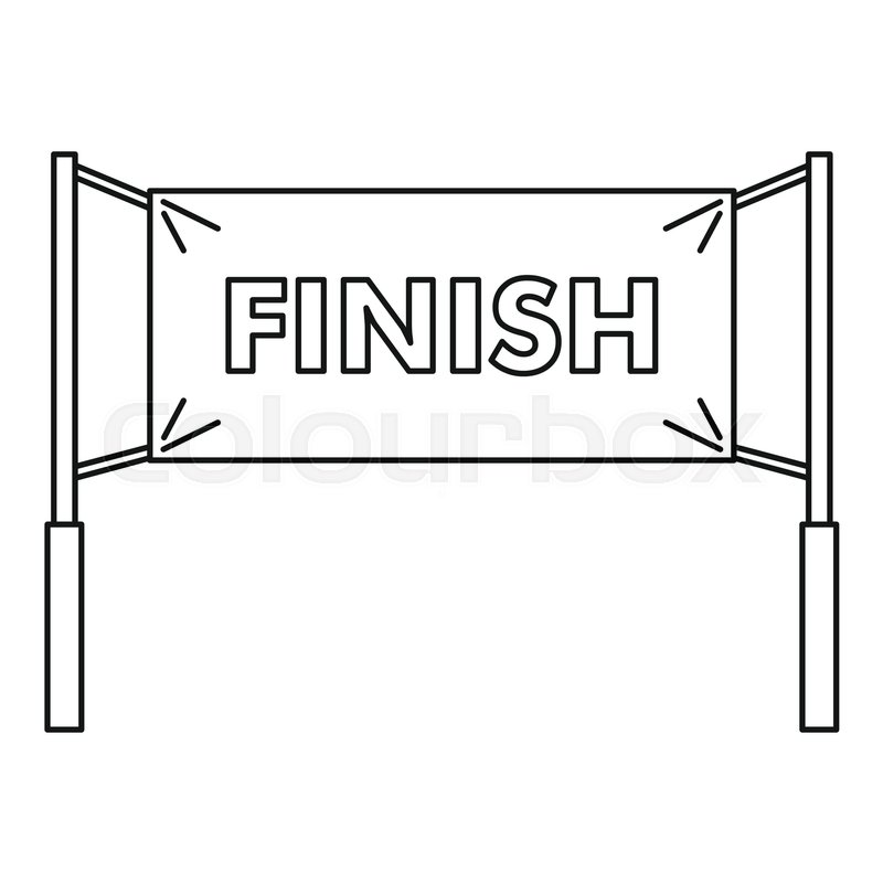 800x800 Finish Line Icon. Outline Illustration Of Finish Line Vector Icon