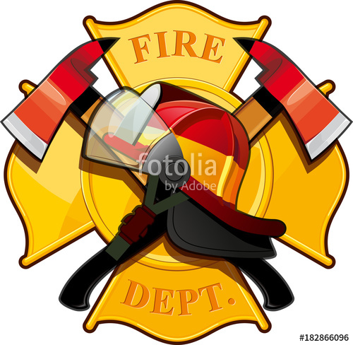 500x488 Fire Department Badge With Crossed Axes, Fire Helmet Against The