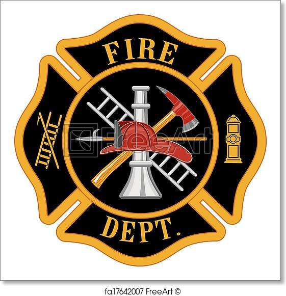 561x581 Free Art Print Of Fire Department Maltese Cross. Fire Department