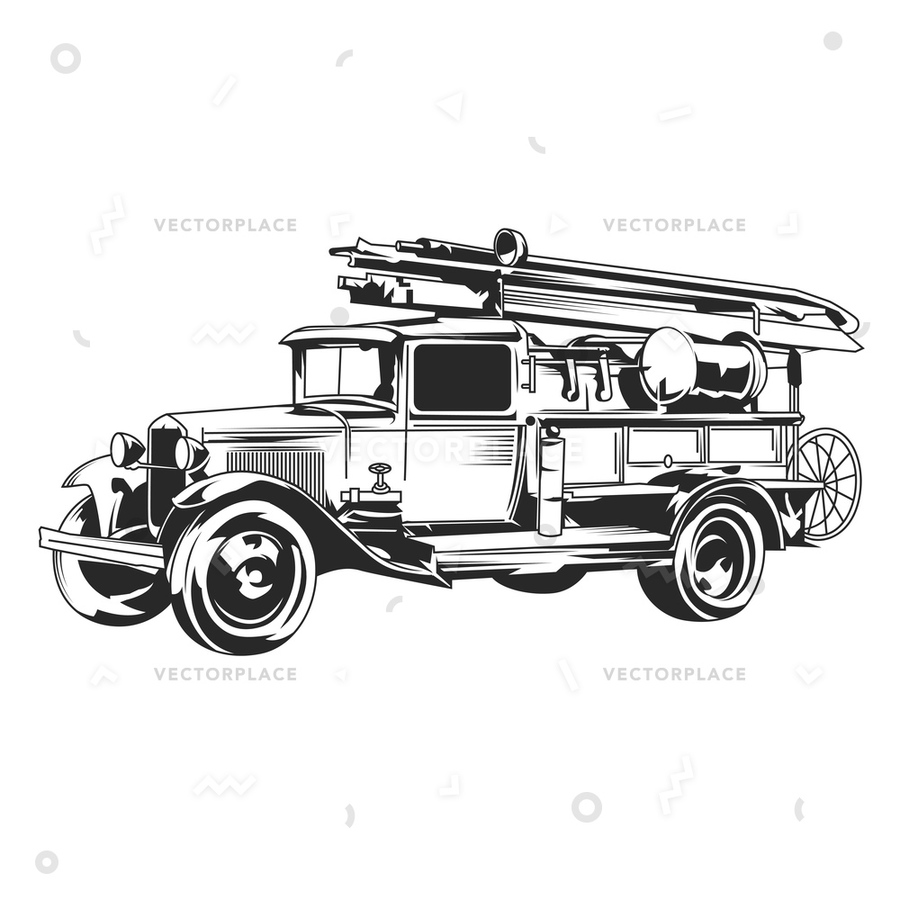 900x900 Download Vintage Fire Truck Vector Clipart Fire Engine Truck