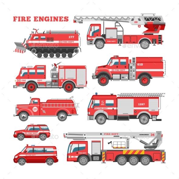 590x590 Fire Engine Vector Firefighting Emergency Vehicle By Pantimetrok