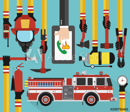 500x429 Fire Fighting Infographic Concept Flat Online Call With Fire