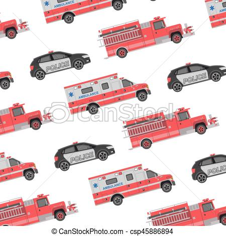 450x470 Background Of The Fire Engine, Ambulance And Police. Seamless