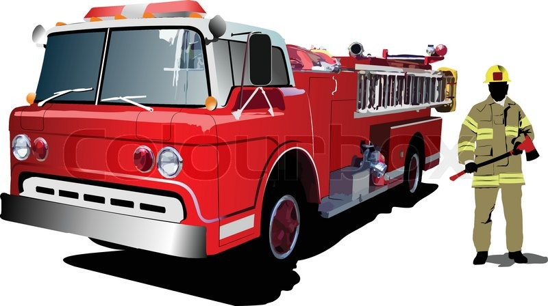 800x448 Fire Engine And Fireman Isolated On Background. Vector