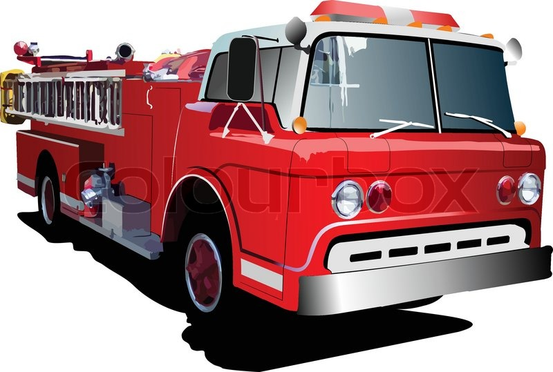 800x539 Fire Engine Ladder Isolated On Background. Vector Illustration