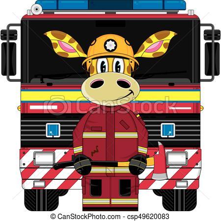 450x451 Giraffe Amp Uk Fire Engine. Cute Cartoon Giraffe Fireman