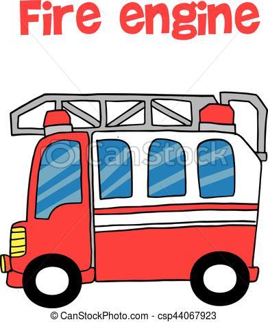391x470 Red Fire Engine Cartoon Vector Art Illustration.