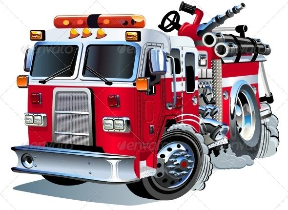 590x430 Vector Cartoon Fire Truck By Mechanik Graphicriver