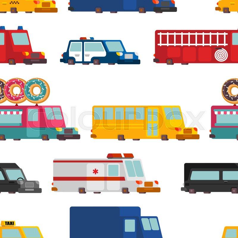 800x800 Car Cartoon Seamless Pattern. Fire Engine And Police Car
