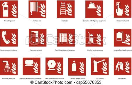 450x289 Fire Emergency Sign Set. Fire Emergency Safety Sign Set