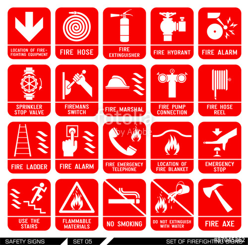 500x494 Set Of Safety Signs. Firefighting Icons. Set Of Firefighting Signs