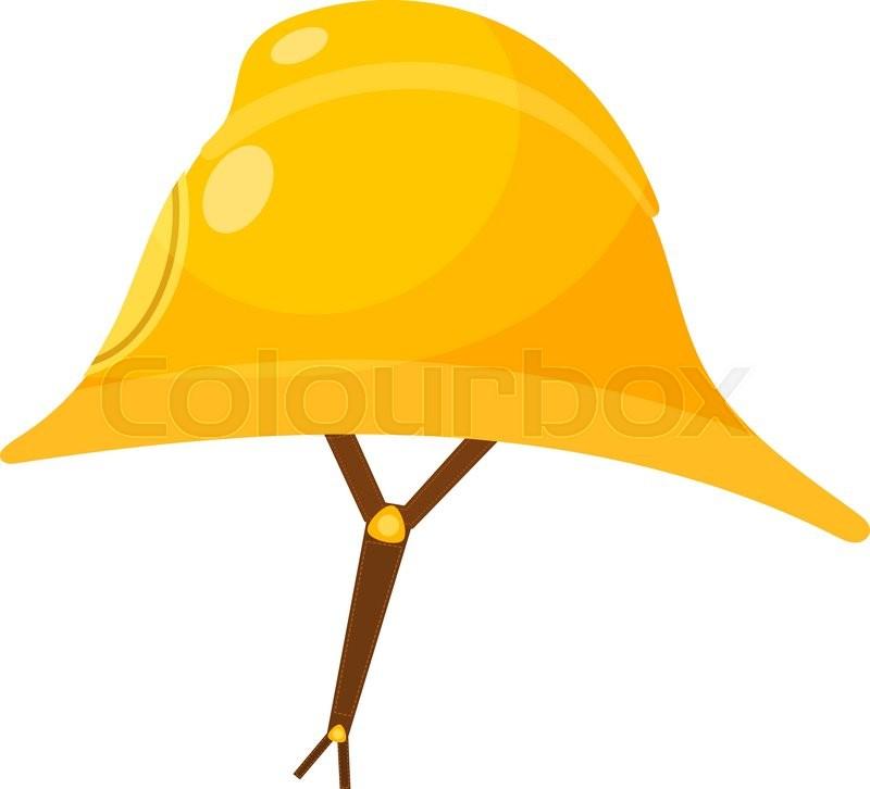800x726 Yellow Fireman Helmet. Cartoon Fireman Helmet With A Leather Strap
