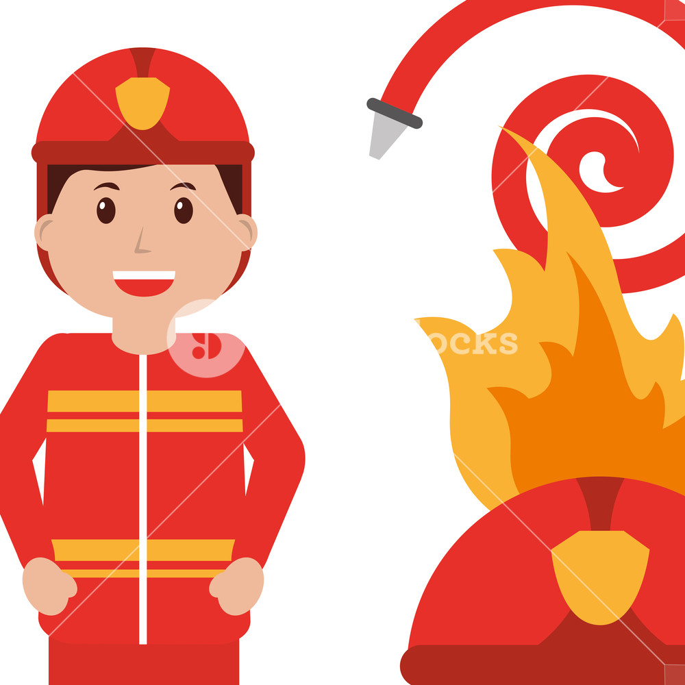 1000x1000 Happy Firefighter Character Profession Water Hose Fire Helmet