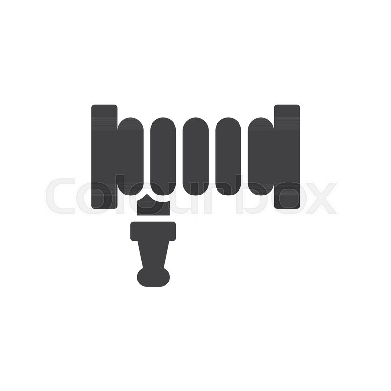 800x800 Fire Hose Reel Icon Vector, Filled Flat Sign, Solid Pictogram