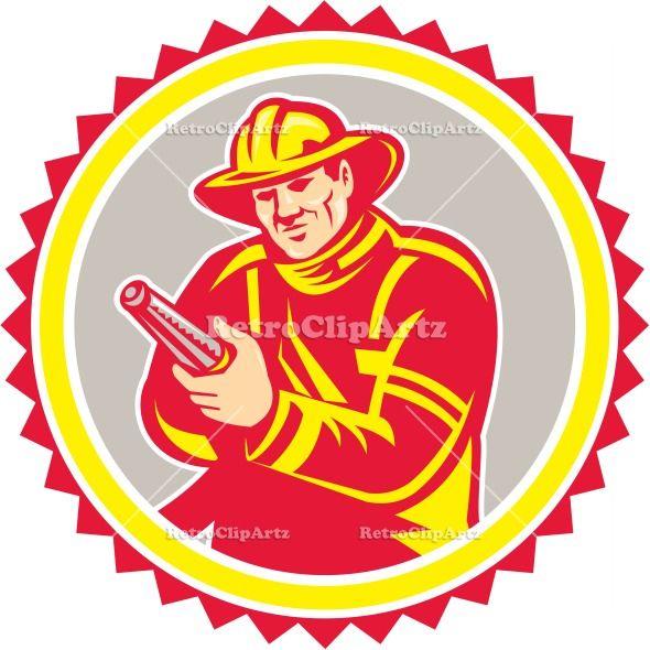 590x590 Fireman Firefighter Aiming Fire Hose Rosette Vector Stock