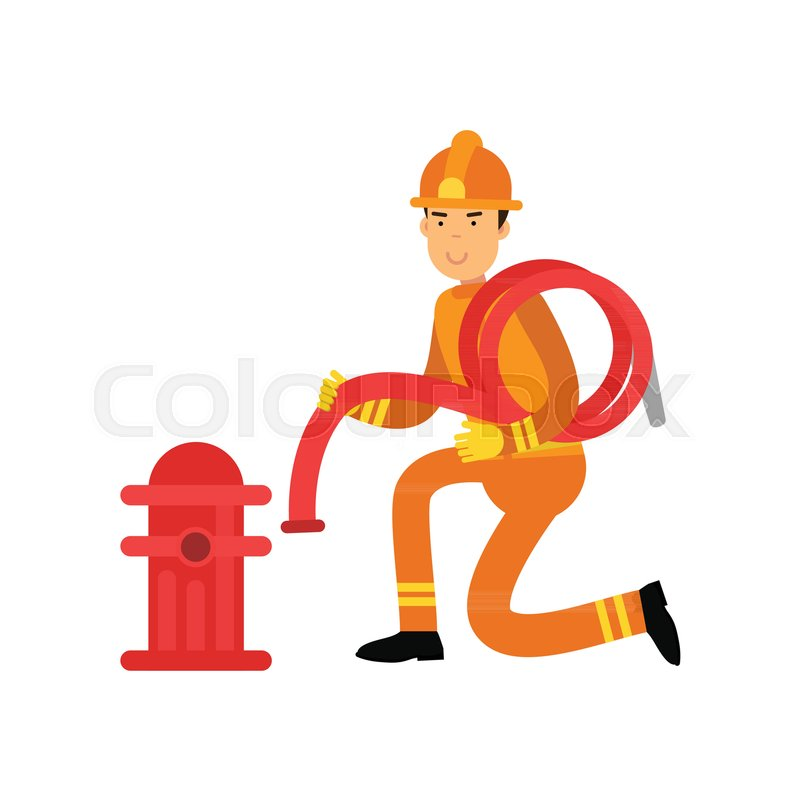 800x800 Fireman In Uniform And Protective Helmet, Connecting Water Hose To
