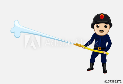 500x341 Fireman With Fire Hose Vector Illustration