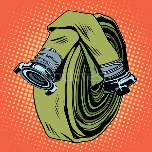 600x600 Retro Green Fire Hose Vector Illustration Valeriy Kachaev