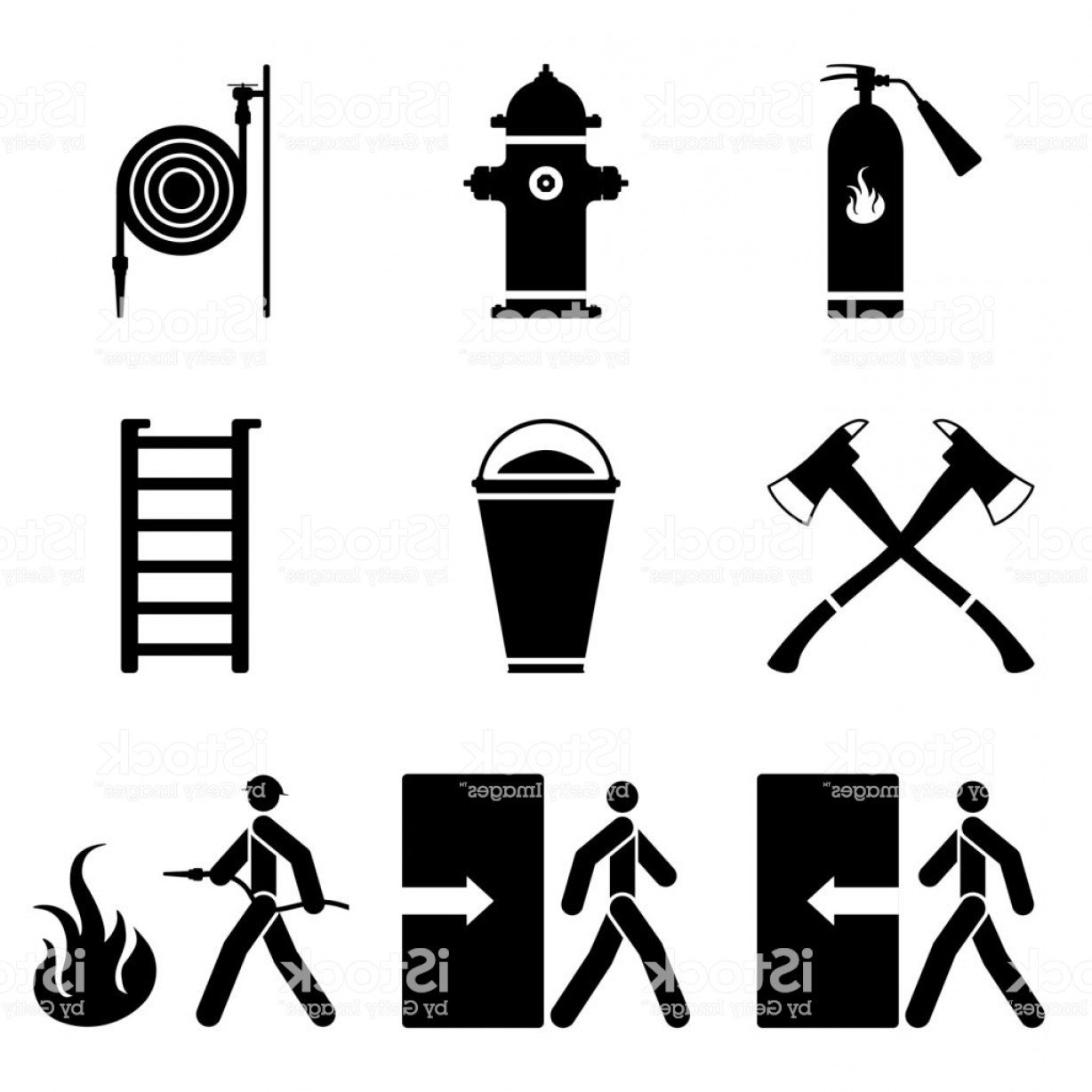 1228x1228 Vector Image Of Fire Extinguishing Icons Fire Extinguisher Fire
