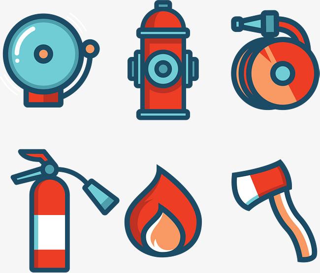 650x556 Fire Axe, Fire Hose, Fire Extinguisher, Fire Vector, Cute Cartoon