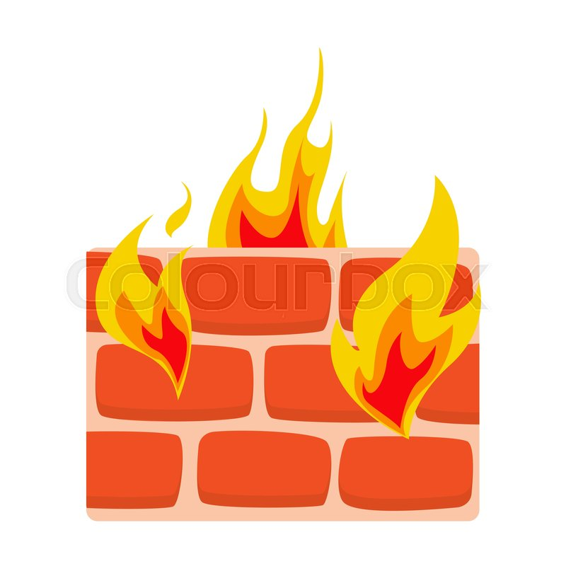 800x800 Firewall Icon Flat. Wall In Fire Icon Vector Illustration. Network