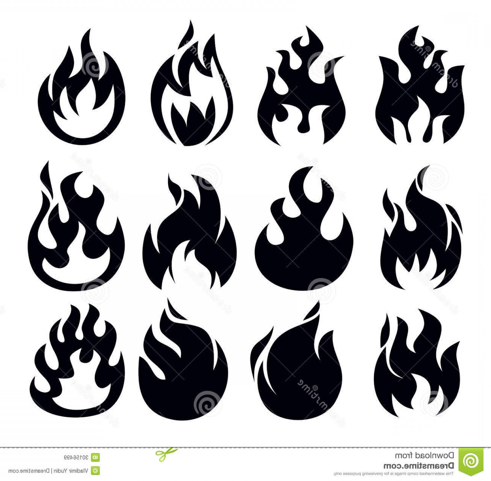 1560x1530 Royalty Free Stock Images Vector Black Fire Icon Set White Image