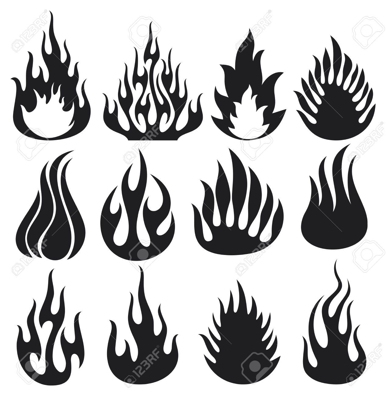 1266x1300 Set Of Vector Flames Fire Flames, Fire Icon Set, Flame Icons